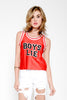 Petals And Peacocks Boys Lie Crop Jersey - Red