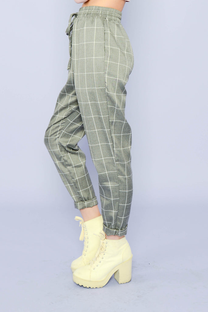 Nerdy Gridline Trousers - Grey