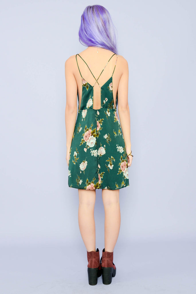 Rose Garden Slip Dress - Green