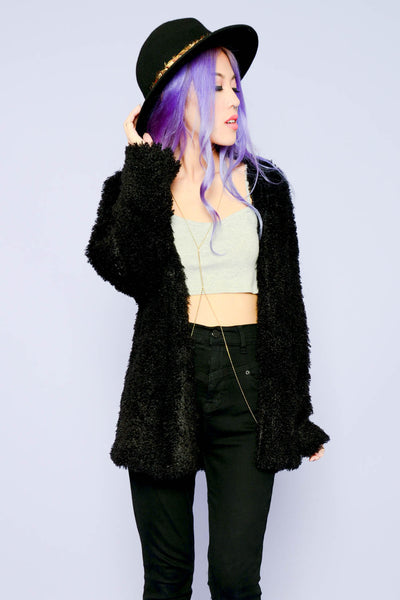 Soft Furry Friend Cardigan - Black