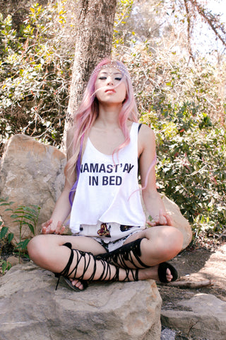 Namast'ay In Bed Crop Tank