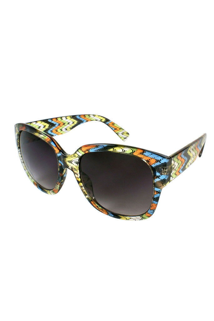 Retro Revival Sunglasses - Green Pattern