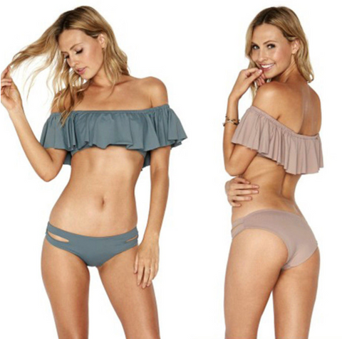 New! Women's Off Shoulder Ruffled Bandeau Swimsuit