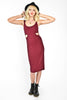 Cookie Cutter Midi Length Dress - Wine