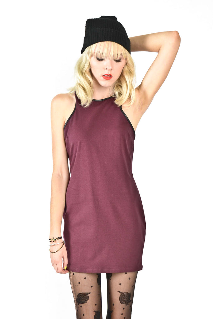 Solid Racerback Mini Dress- Wine