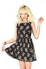 Rose Embroidered Party Dress - Black