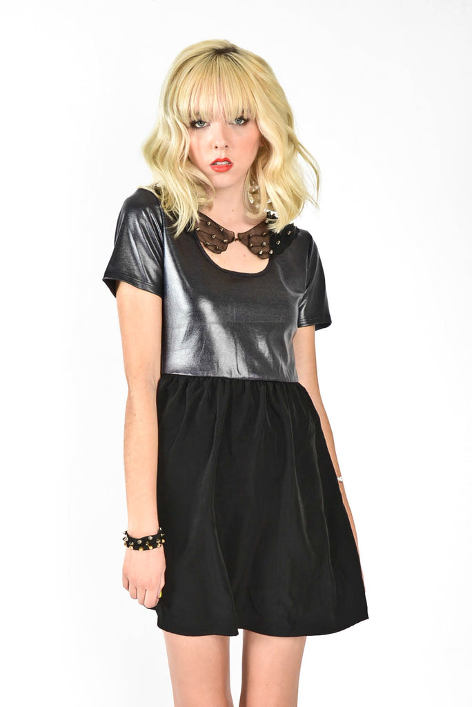 Rebel Studded Mesh Collar Dress - Black