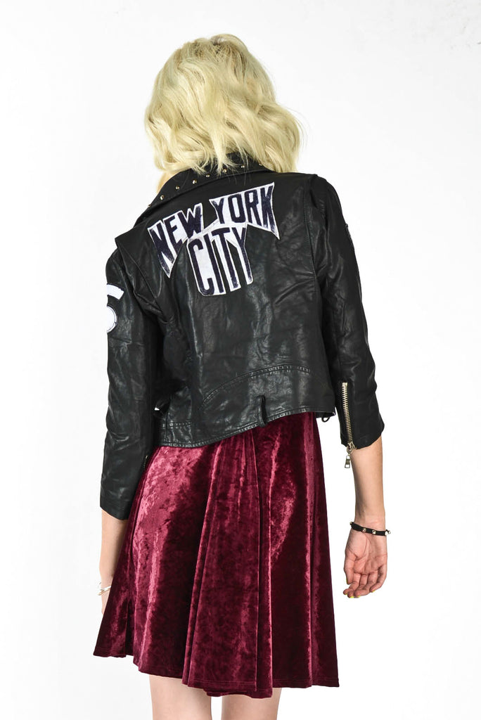 NYC Leather Moto Jacket - black