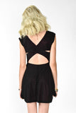 XOXO Velvet Burnout Skater Dress - Black