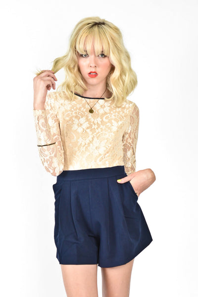 Simply Sweet Lace Romper - Taupe/Navy
