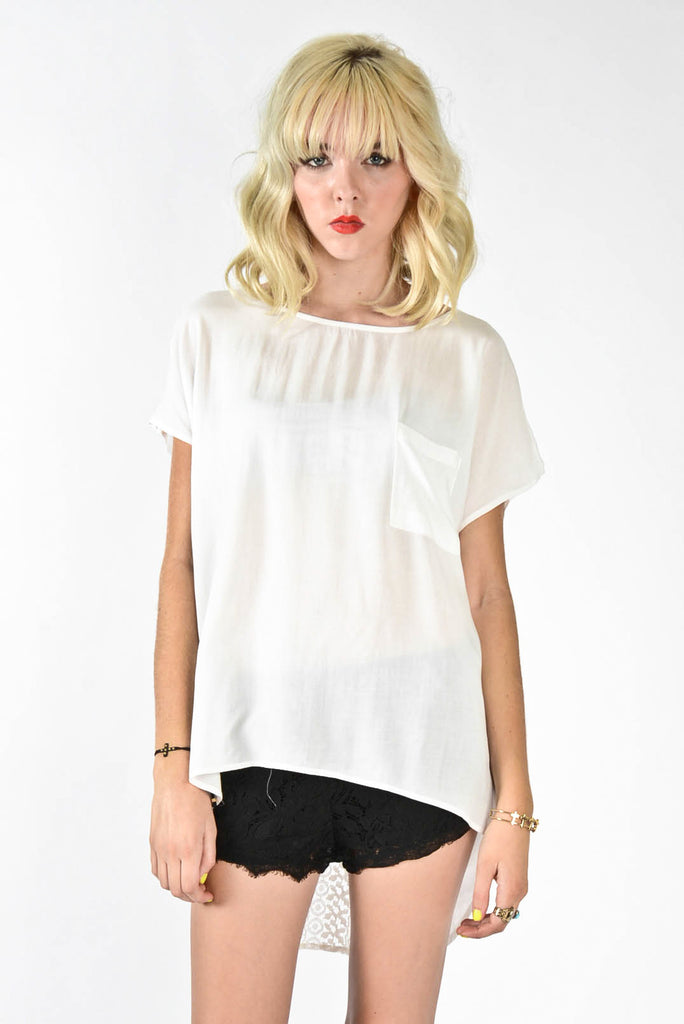 Crochet Lace Block Top - White