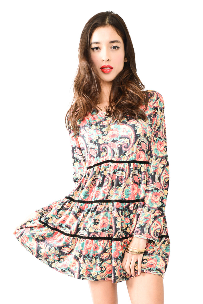 Trippy Hippie Floral Longsleeve Baby Doll Dress