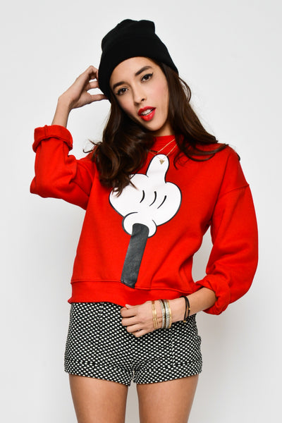 Middle Fingers Up Graphic Fleece Sweater