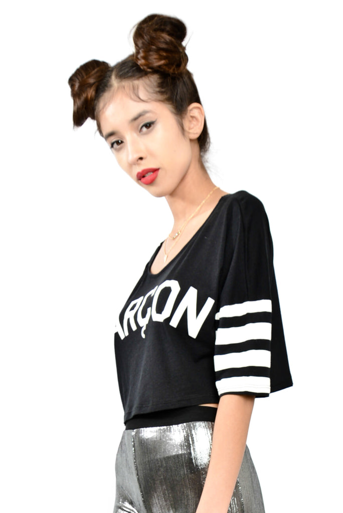 Oui, Garcon! Jersey Crop Top- Black