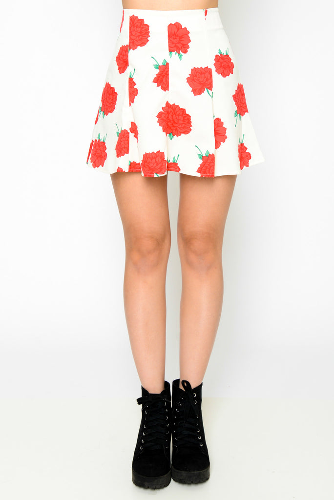 Fit And Flare High Waisted Floral Skirt - Cream