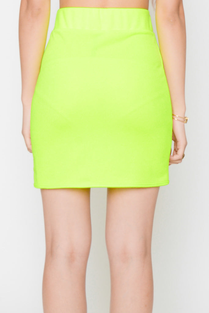 Bodycon Skirt in Highlighter Yellow