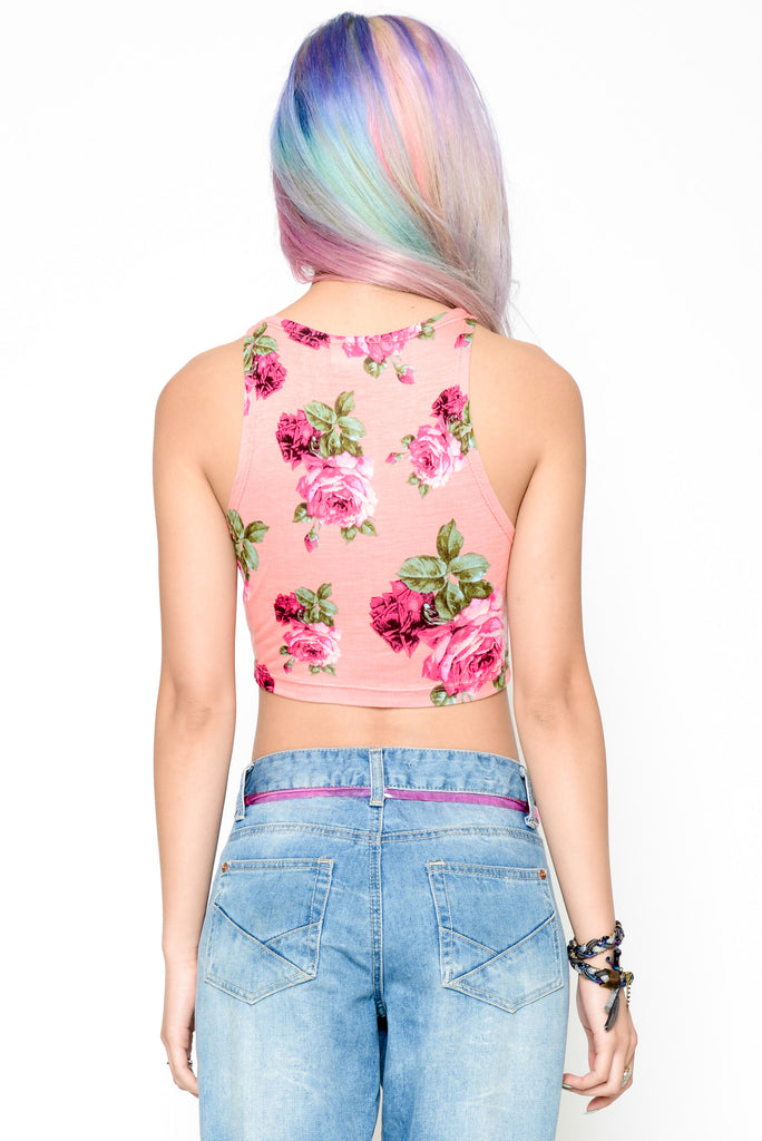 Romance And Roses Crop Tank - Pink