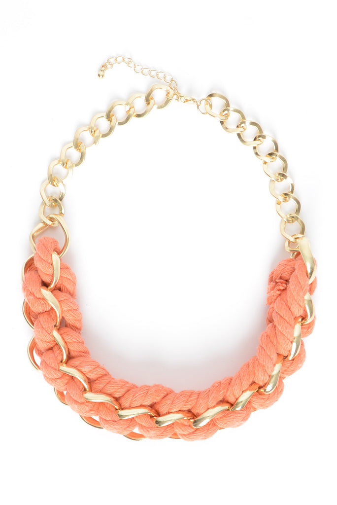 Nautical Nonsense Rope Chain Necklace - Coral