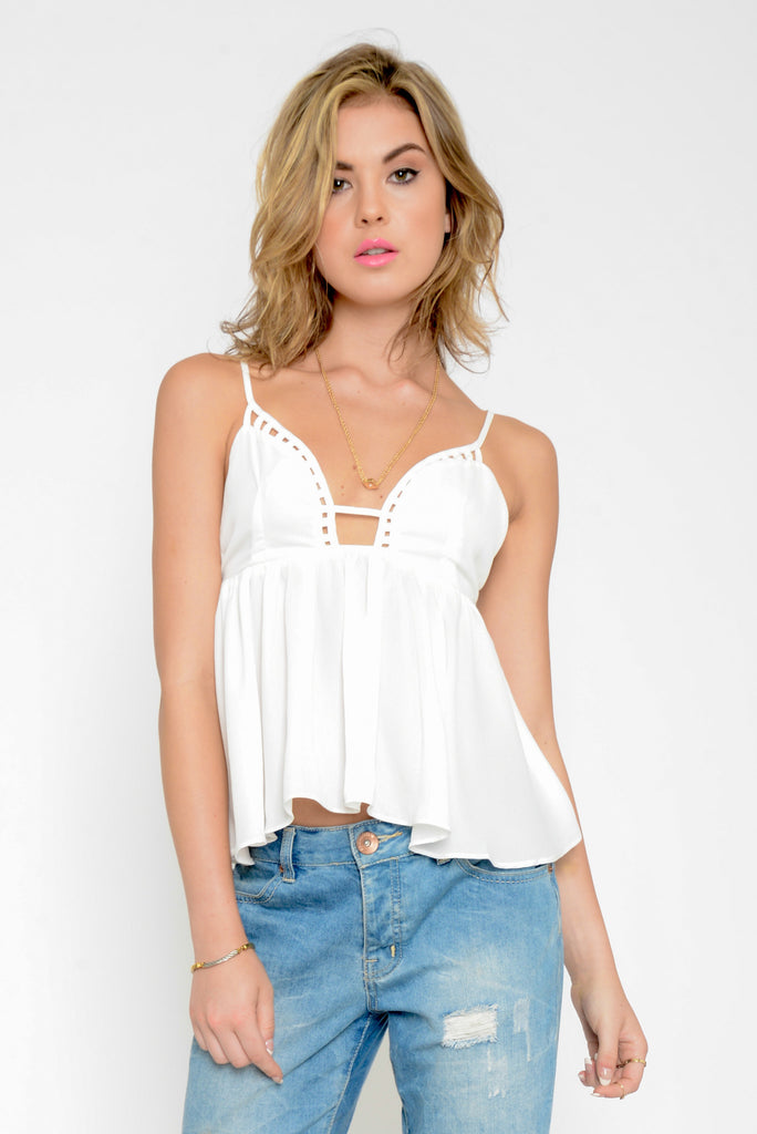 Lattice Low Cut Peplum Top - White