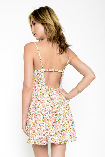 Secret Garden Floral Dropback Dress - Pink