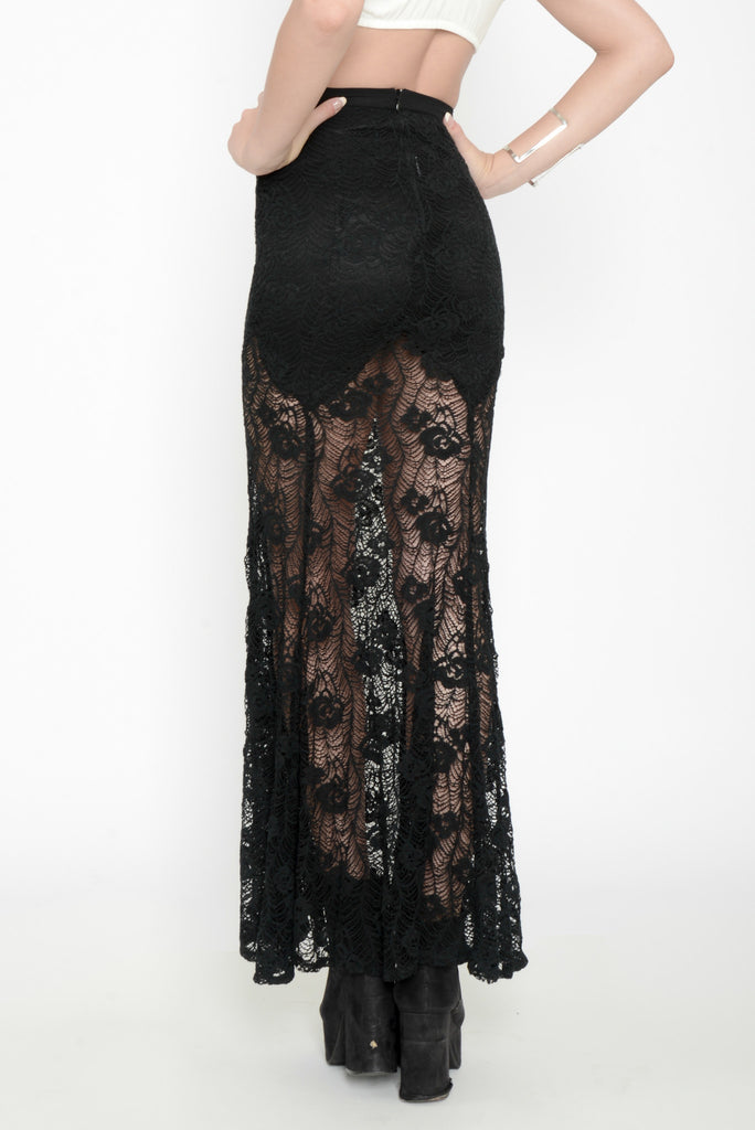 Wicked Lace Mermaid Maxi Skirt -Black