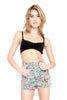 Motel Fluro Flower High Waisted Denim Shorts