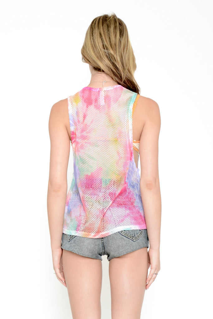 Psyched Out Tie Dye Fishnet Muscle Tee