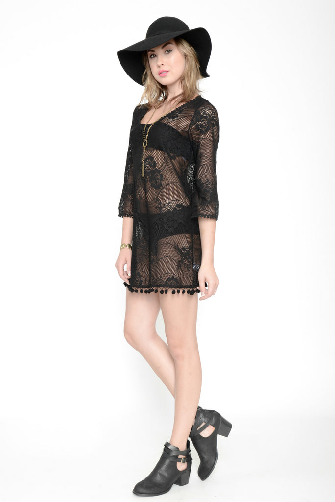 Paint It Black Lace Cover-up Dress