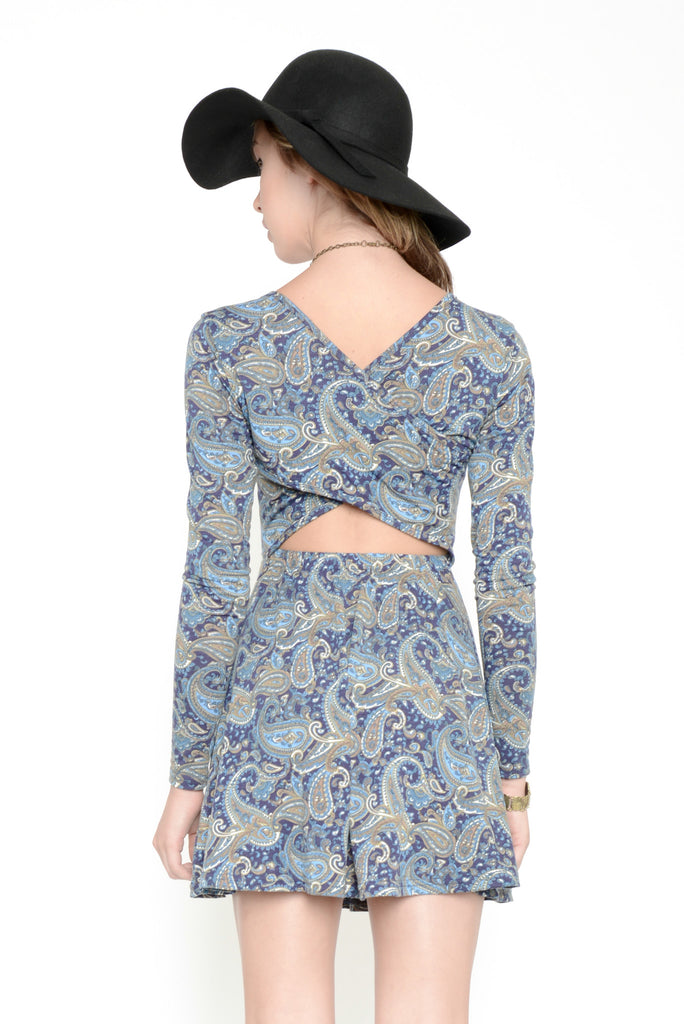 Pretty in Paisley Printed Cross Back Dress - Blue