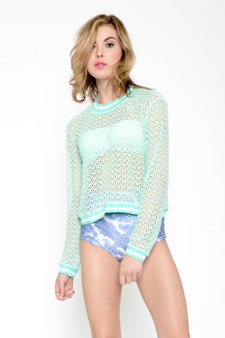 Sporty Mint Crochet Pullover - Mint