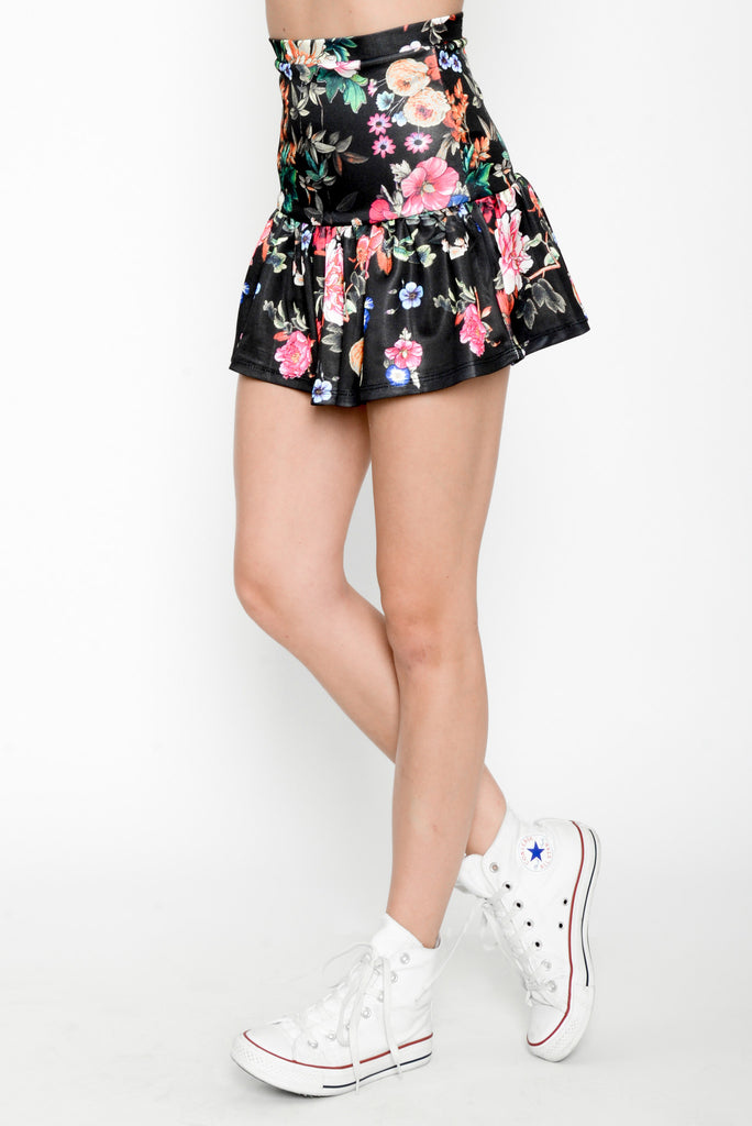 Floral Flounce High Waisted Skirt - Black