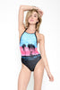 Motel Lovesun Sunset Palm Halterneck Swimsuit