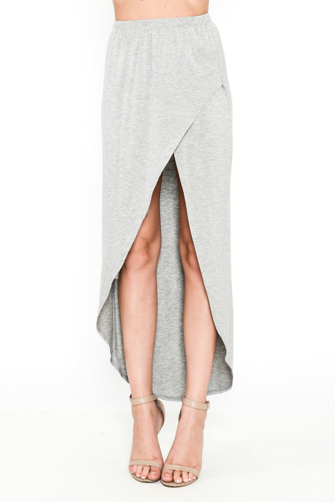 Jersey Girl Tulip Maxi Skirt - Grey