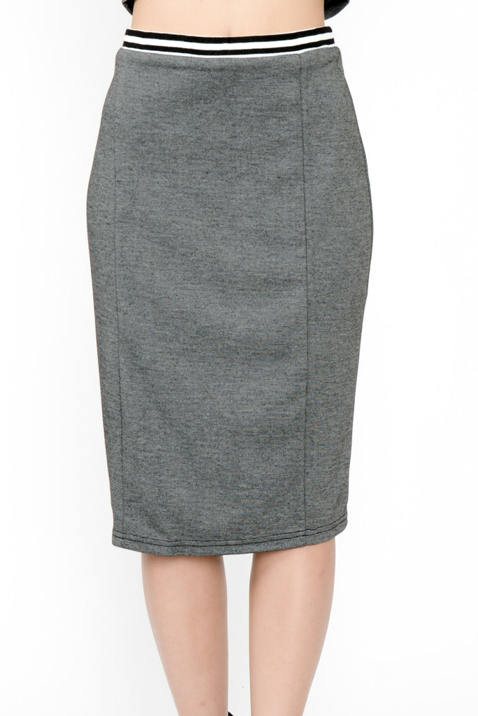 Tomboy Striped Waist Pencil Skirt - Grey