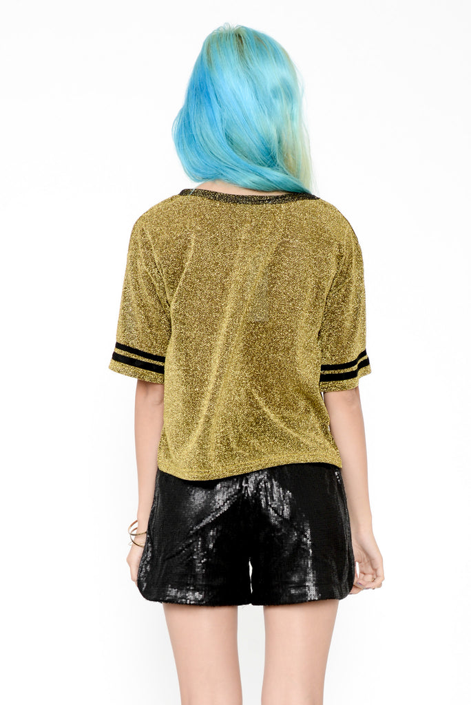 Sparkly Sport Cropped Tee - Gold