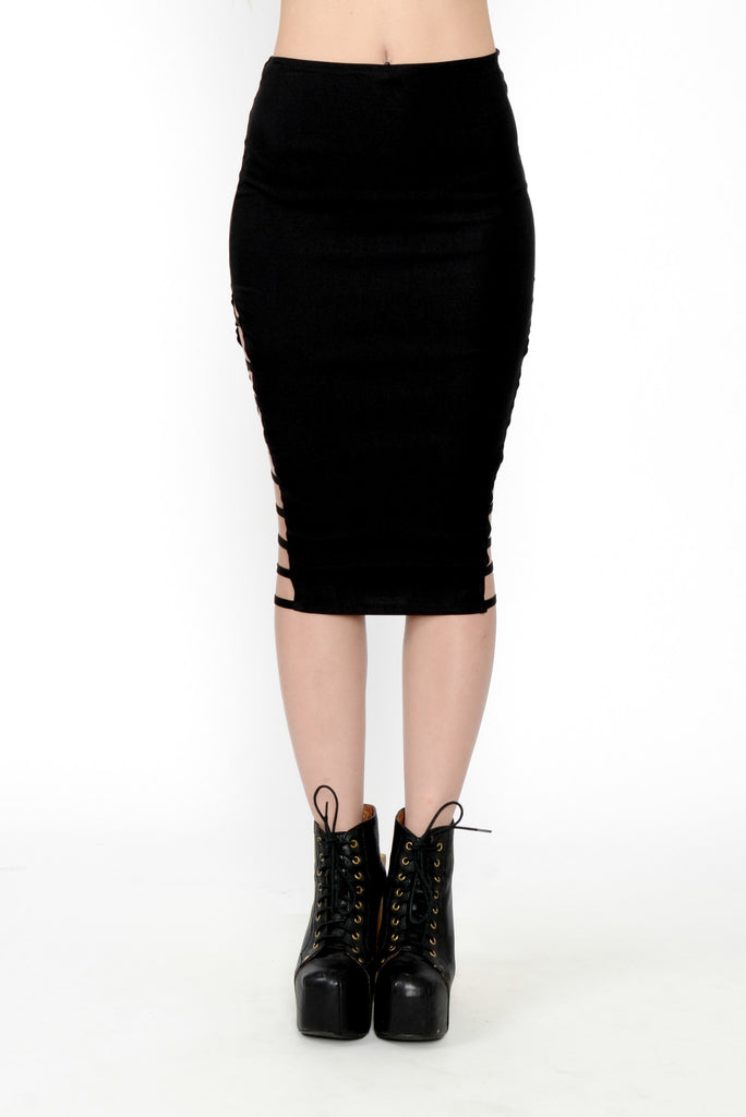 Caged In Midi Pencil Skirt - Black