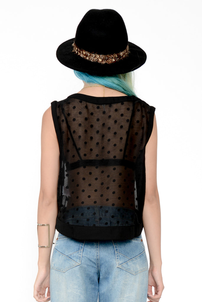 Sheer Wicked Polka Dot Crop - Black