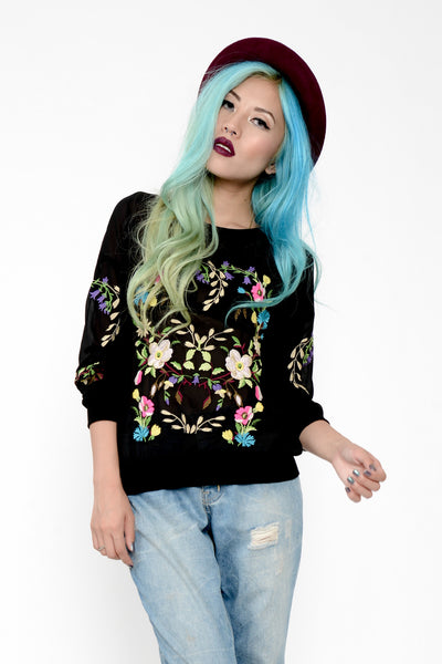 Floral Embroidered Sheer Crew Neck Sweater