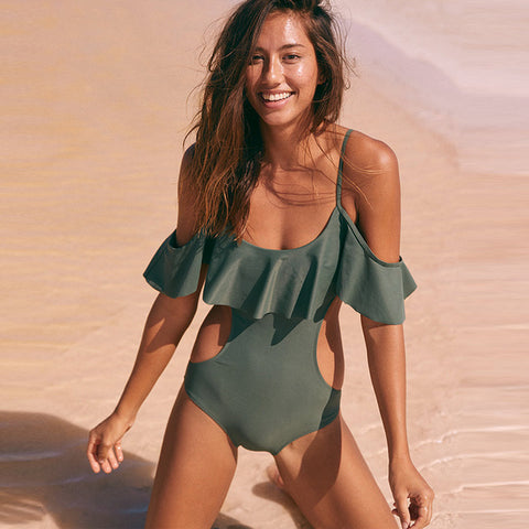 Sexy One Piece Ruffled Off-Shoulder Swimsuit Solid