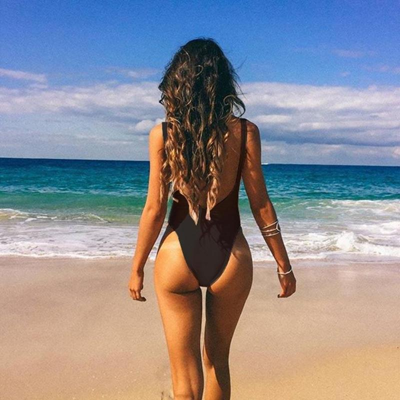 Sexy Backless One Piece Solid Swimsuit