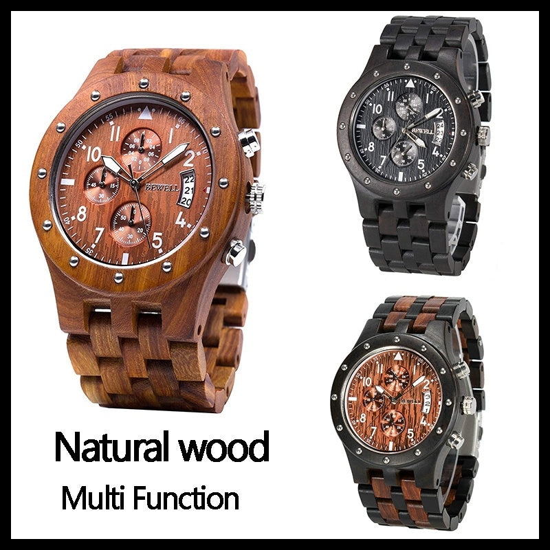 Luxary Handmade Wooden Chronograph Quartz Watch