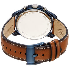 Fossil Men's 44mm Grant Blue and Silvertone Watch with Light Brown Strap
