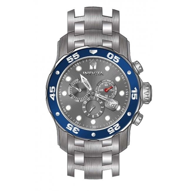 Grey and Blue Invicta Pro Diver Quartz 3H Stainless Steel Watch