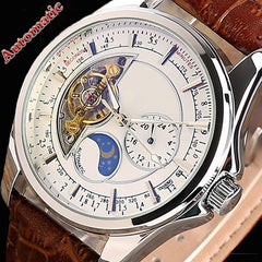 NEW! Classic Auto Mechanical Tourbillon Leather Watch