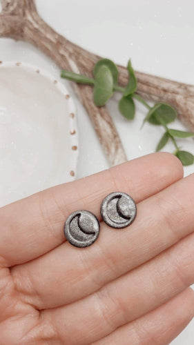 Medium Metallic Moon Studs