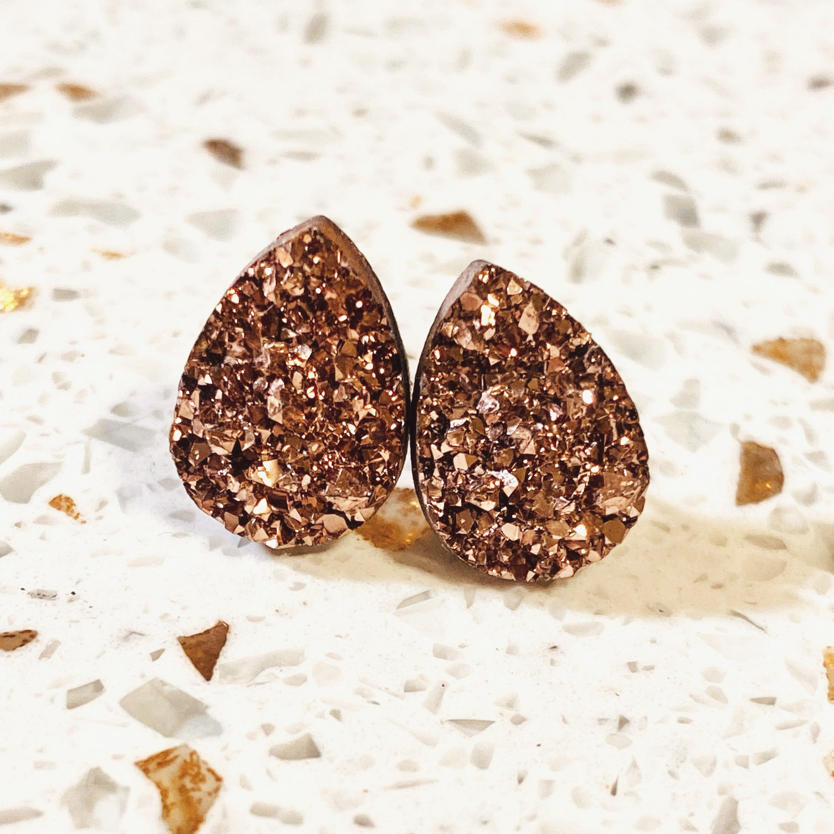 Geode Inspired Tear Drop Studs