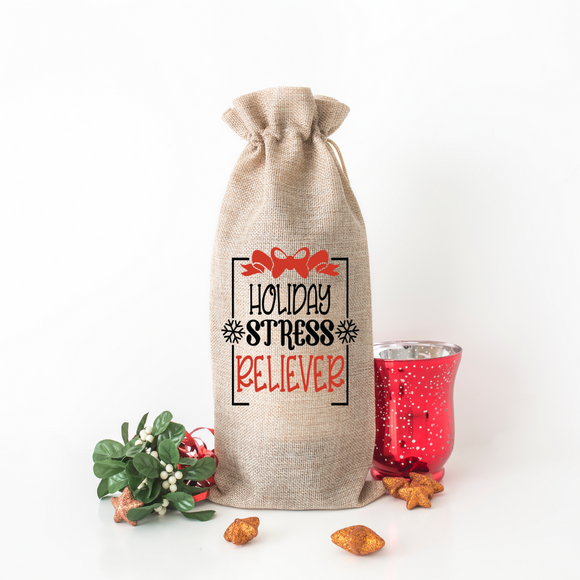 Holiday Stress Reliever - Burlap Wine Bag