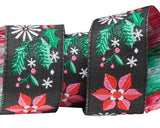 "7/8"" Poinsettia Black Ribbon"