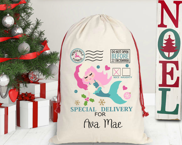 Personalized Christmas Mermaid Santa Sack