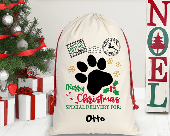 Personalized Dog Paw Santa Sack